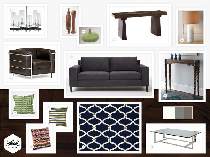 Grey Sofa Navy Rug And Brown Leather Living Room What Is