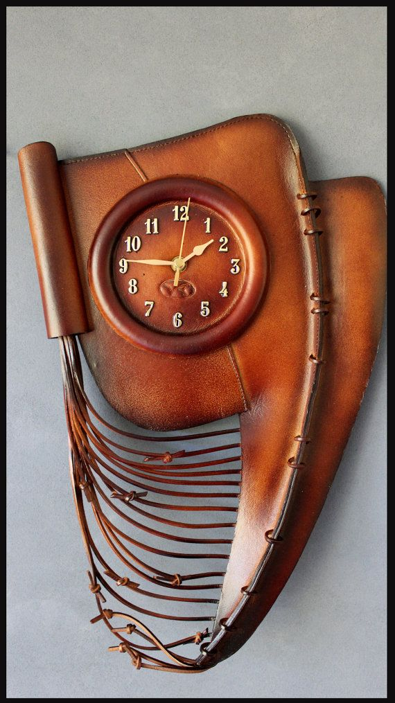 Large Handmade Leather Wall Clockr RRP AUD 199 Unique Valentine's Day GIFT* Wholesale Prices* Available on ETSY.  Price : $79.99 + postage