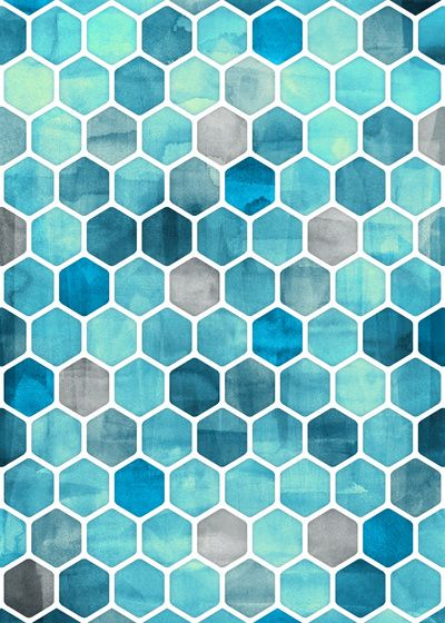 The Hexad is associated with time-keeping and order.  Blue Ink - watercolor hexagon pattern Art Print