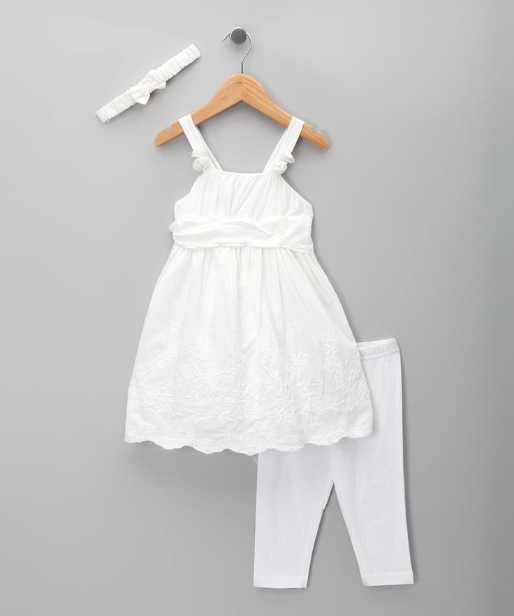 White Eyelet Dress Set Toddler & Girls
