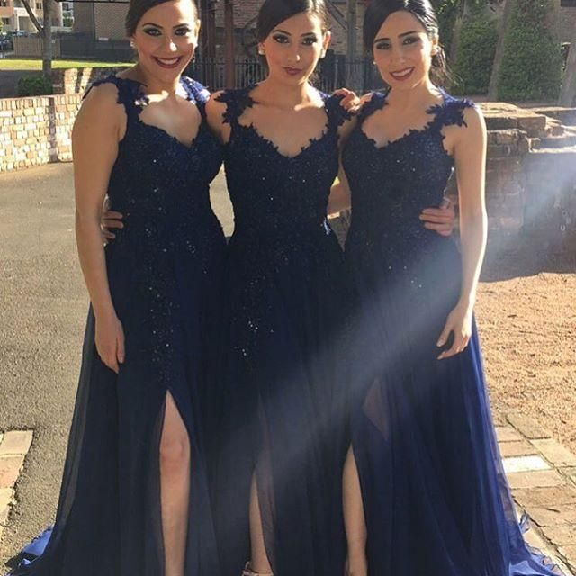 2016 Elegant A Line Bridesmaid Dresses Long Lace Bridesmaids Formal Dresses Side Slit Evening Gowns Plus Size Maids Honor Dresses J1122 Online with $117.28/Piece on Caradress's Store | DHgate.com