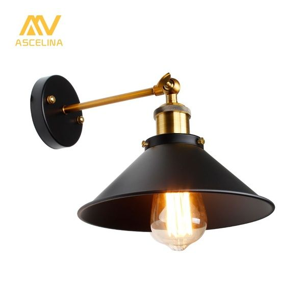 Vintage Industrial Loft Led Wall Lamps Iron Lamp Shade E27 Edison Wall Lights For Home Decor Bathroom Retro In 2020 Black Wall Lamps Retro Lighting Fixture Wall Lights
