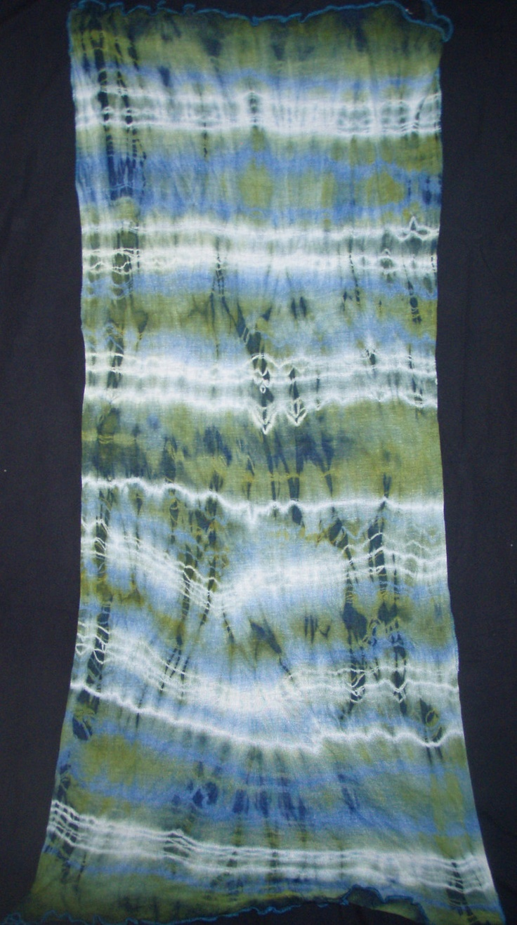 Lime - Sea Green & Sky Blue  Luscious Scarf - Wrap - Hand Tie Dyed Fabric Length of Soft Rayon Knit material. $55.00, via Etsy.