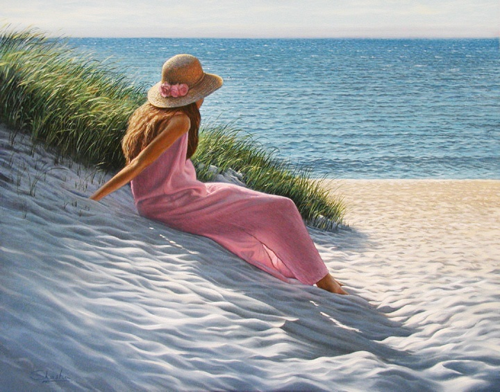 The Pink Dress :: Oil Painting by Mark Shasha :: A new favorite, I love this ♥