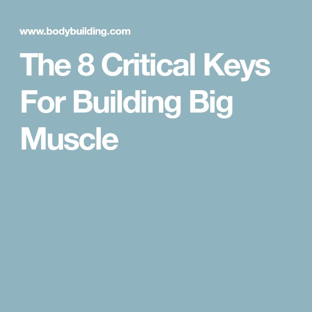 The 8 Critical Keys For Building Big Muscle