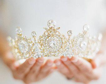 Bridal Crown Swarovski Crystal Full Crown GEORGINA Silver Bridal Crown Opal Crystal Gold Baroque Tiara Circlet Tiara Reign Bridal Crown