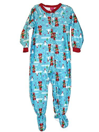 8434b75cae Disny Minnie Mouse Girl s 4T Blue Holiday Print Fleece Footed Blanket Pajama  Sleeper