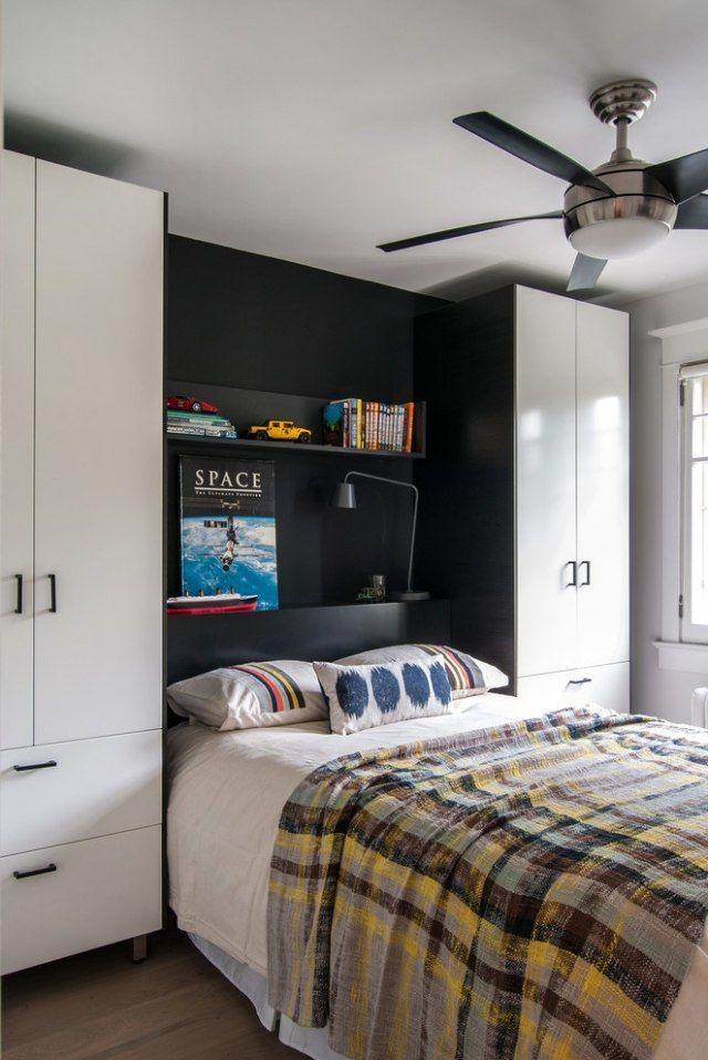 chambre enfant garçon avec armoires de rangement et lit