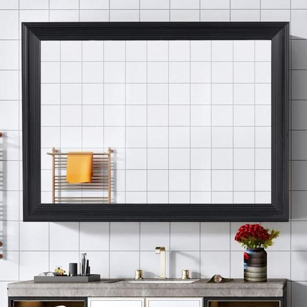 Neu Type Rectangle Modern Simple Bathroom Vanity Mirror Wall Mounted Hanging Mirror Black Gold Jj00379aafn 1 The Home Depot In 2020 Living Room Mirrors Large Wall Mirror Simple Bathroom