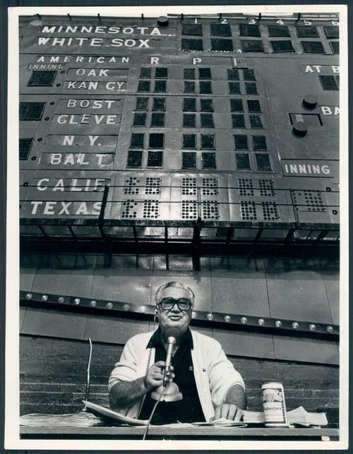 Harry Caray October 4, 1981 Comiskey Park Chicago, Illinois Chicago Sun-Times photo Caray worked his last game as a White Sox broadcaster f...