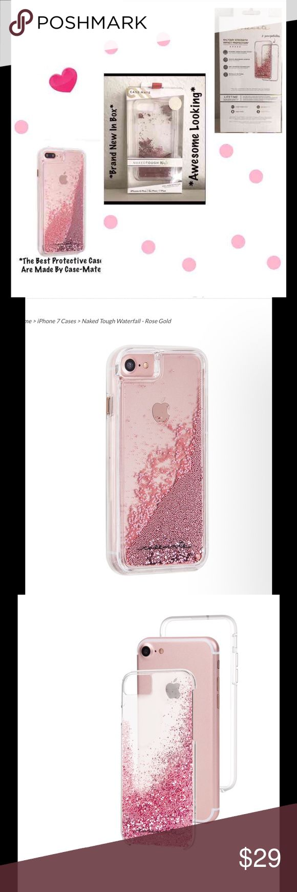 BNIP:CaseMate Naked Tough Waterfall Case iPhone 7P BNIP:Case-Mate Naked Tough Waterfall Case iPhone 6 Plus,6S,iPhone 7 Plus Rose Gold Glitter Waterfall Case Captivate you W/its cascading sparkle & tumbling glitter.Enhanced dual-layer protection W/refined metallic button accents Military strength impact protection Dual layer protection W/a slim silhouette Shock absorbing bumper Anti-scratch technology Lifetime warranty Case is certified to meet or exceed  MIL-STD-810G drop test standards…