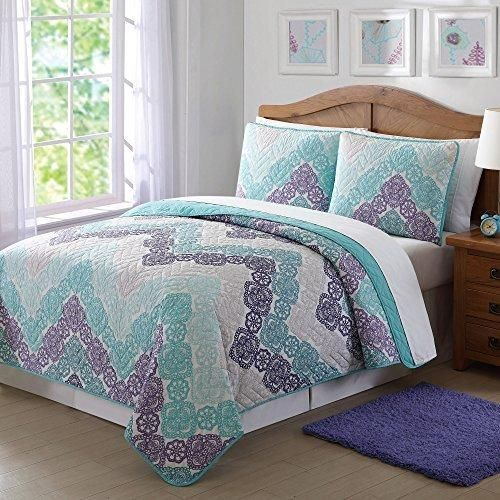 Full Queen Purple Teal Bohemian Quilt Set Light Blue Antique Lace Chevron Casual Floral Zig Zag V Shaped Jagged Lines Pattern Classic Adult Bedding