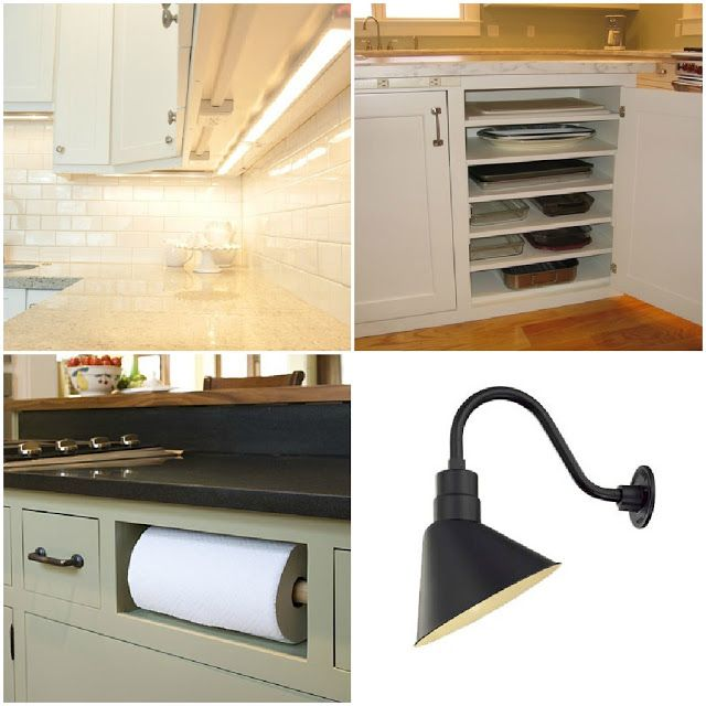 Here are other great ideas: putting the outlets under the cabinets instead of on the back splash, adding extra shelves in a cabinet for cookie sheets and large platters, paper towels tucked under the kitchen sink, great lighting from Schoolhouse Electric.