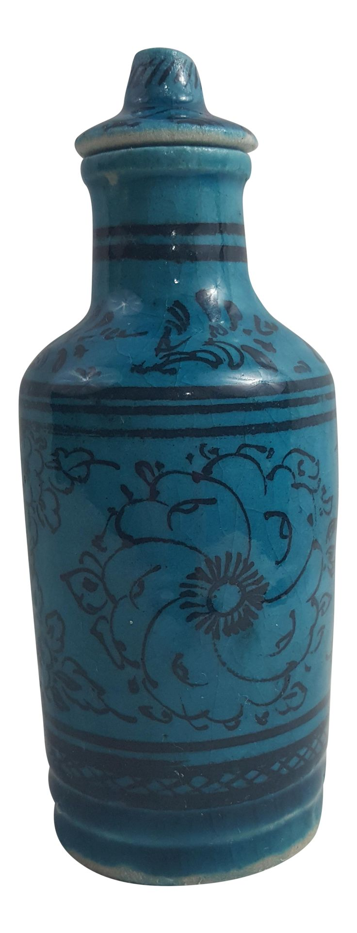 Teal Floral Motif Pottery Bottle on Chairish.com
