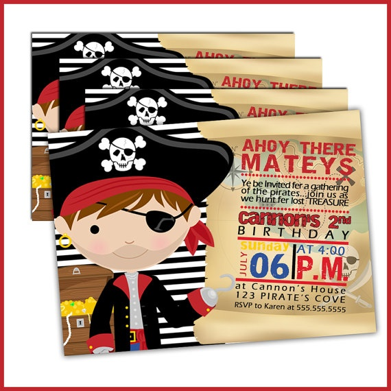 Pirate Birthday Invitations for boys Pirate Birthday by Lullaby Loo Invitations, $18.00