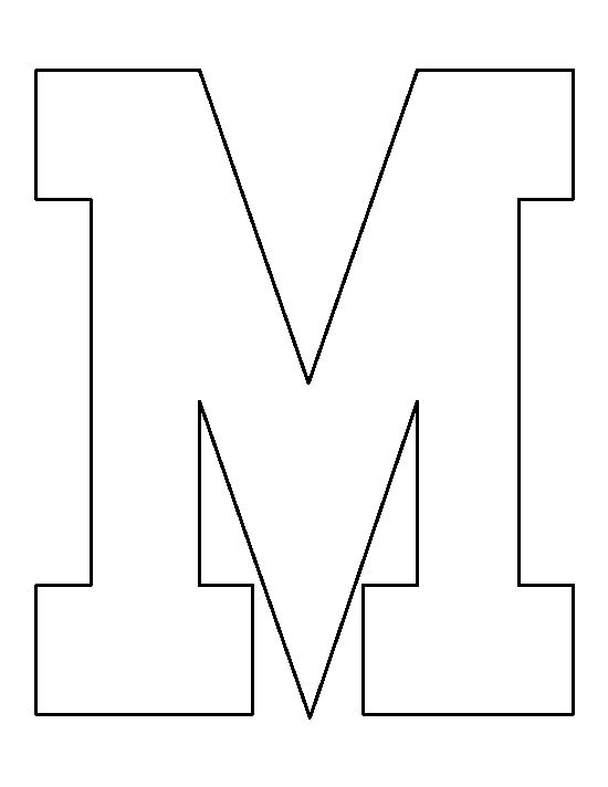Letter M pattern. Use the printable outline for crafts, creating stencils, scrapbooking, and ...