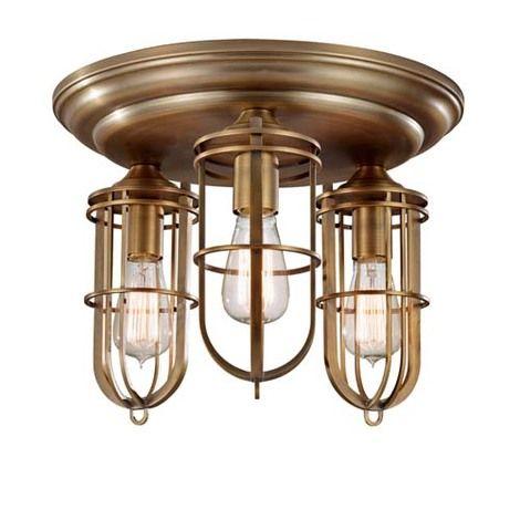 Murray Feiss Urban Renewal 3 Light Flushmount Dark Antique Brass FM378DAB