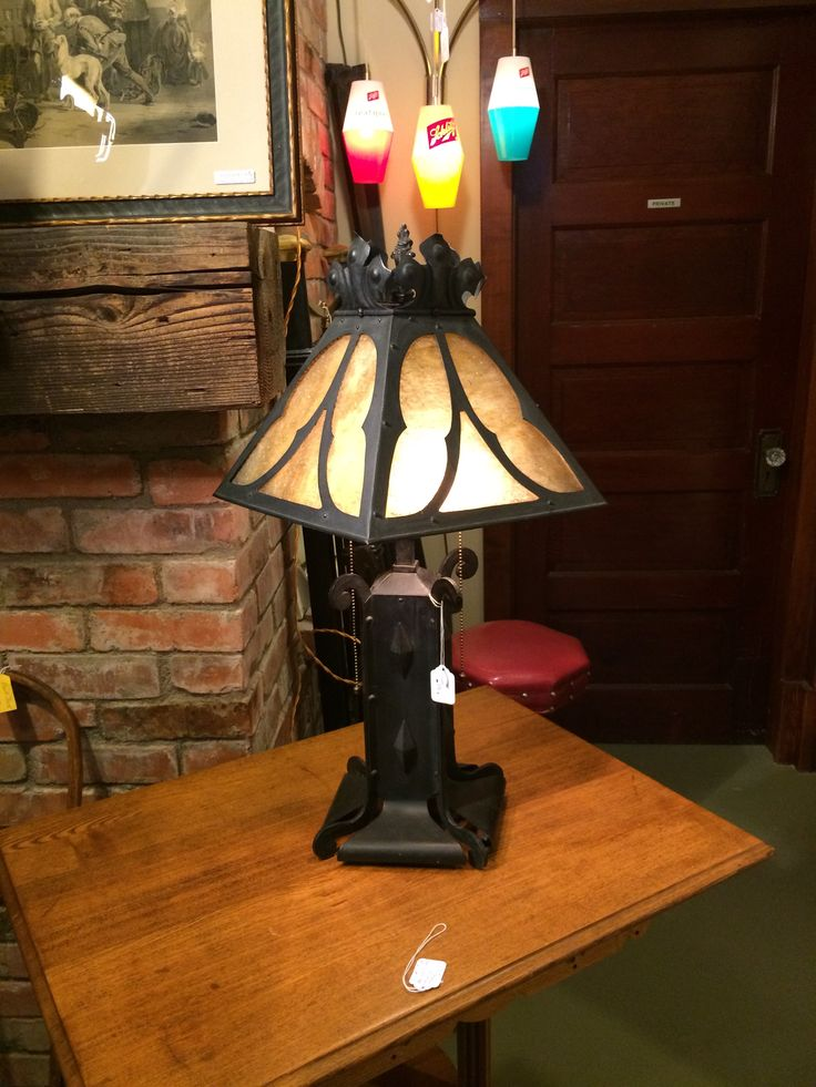 Art Nouveau Elect. Lamp 1901-1905 Original Amberina Glass.