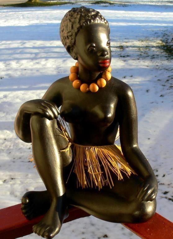 Annons på Tradera: Urläcker stor afrikan, Gmundner keramik, Österrike, 60-tal