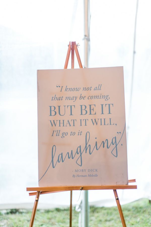 """""""I know not all that may be coming, but be it what it will, I'll go to it laughing"""" - Moby Dick. http://www.stylemepretty.com/little-black-book-blog/2016/03/01/rustic-rainy-north-carolina-fall-wedding/ 