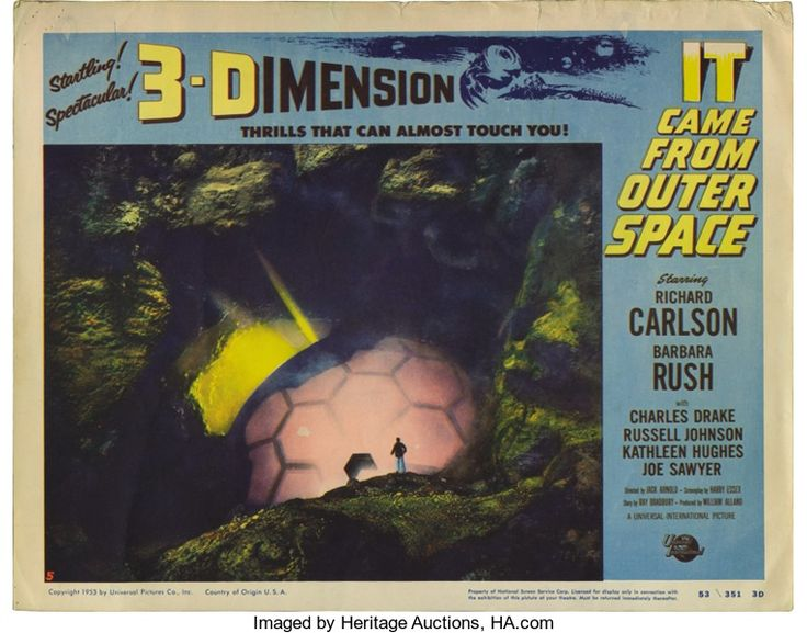 """Movie Posters:Science Fiction, It Came From Outer Space (Universal, 1953). Lobby Cards (2) (11"""" X14""""). This film starring Richard Carlson and Barbara Rush...(Total: 2 Items)"""