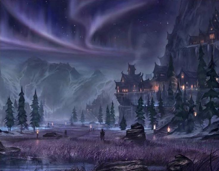 the elder scrolls art - Google Search. Northern town in the mountains