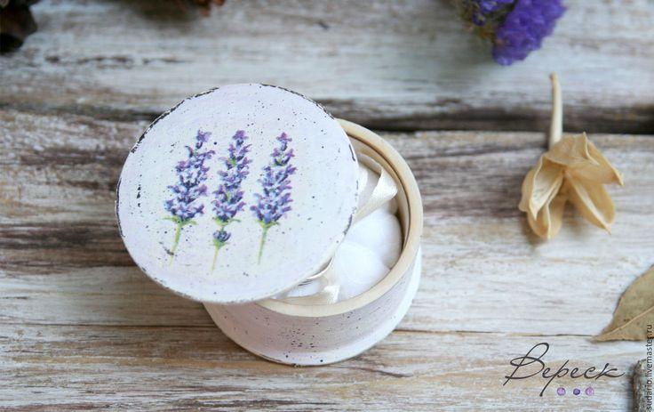 Купить Коробочка-подушечка для свадебных колец в стиле прованс - бледно-сиреневый, шкатулка декупаж