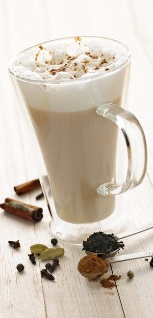 Bondi Chai Tea Latte, a delicious warm and spicey drink!  Put a serving Bondi Chai powdermix, (containing Djarling tea, cinnamon, ginger, honey etc.) into your milk, make it warm and stirr it up! Already sweetened with honey!