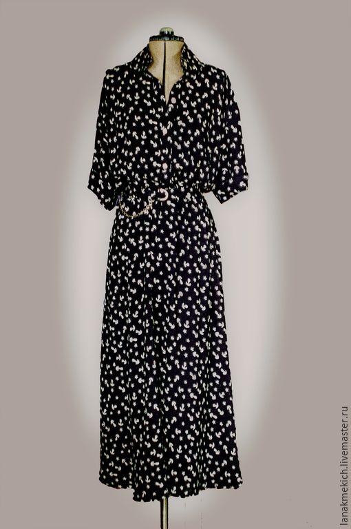 """Купить платье- рубашка """"Морская история"""" - разноцветный, рисунок, платье рубашка, платье на пуговицах"""