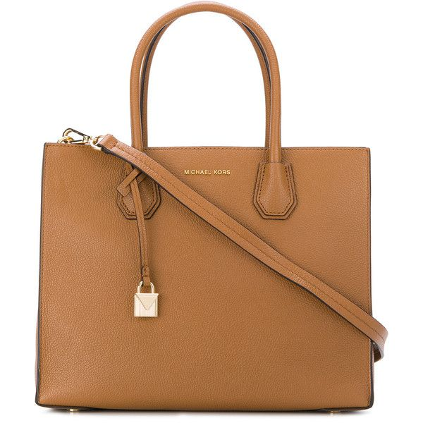 Michael Michael Kors Mercer extra-large tote (€330) ❤ liked on Polyvore featuring bags, handbags, tote bags, brown, brown tote handbags, michael michael kors tote, beige tote bag, laptop tote and brown tote bags