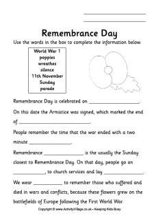 Remembrance Day fill in the blanks