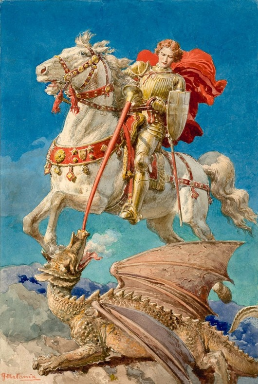 San Jorge, mártir, cuyo glorioso certamen, que tuvo lugar en Dióspolis o Lidda, en Palestina, celebran desde muy antiguo todas las Iglesias, desde Oriente hasta Occidente (s. IV). Etimológicamente: Jorge = Aquel que trabaja la tierra, es de origen griego.