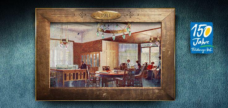 Das Lesezimmer im Feldberger Hof um 1911. Mit dem damaligen Aufschwung des Tourismus am Feldberg und dem Ski Sport hielt die feine Gesellschaft Einzug in das Hotel.