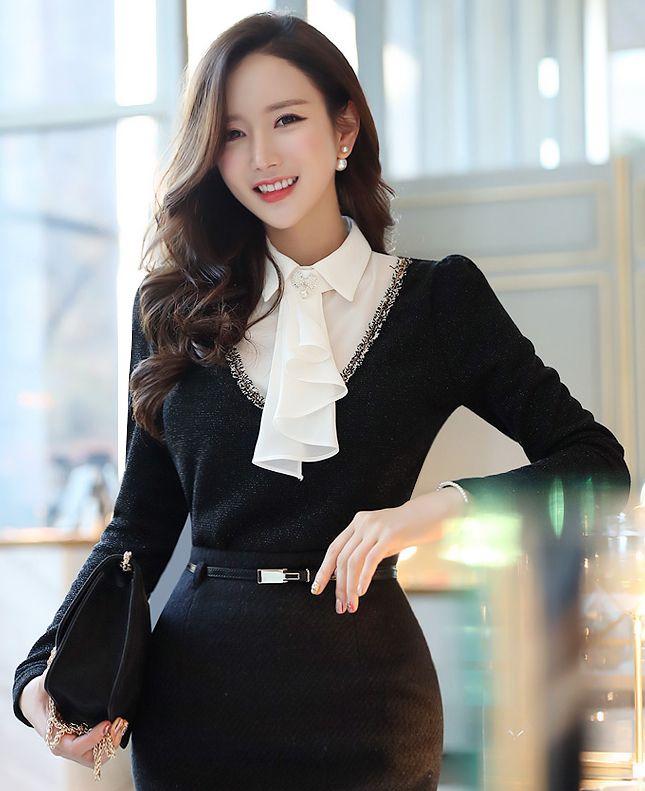 StyleOnme_Pearl Brooch Ruffle Tie Collared Blouse #black #blouse #pearl #brooch #ruffle #tie #elegant #officelook #feminine #koreanfashion #kstyle #seoul
