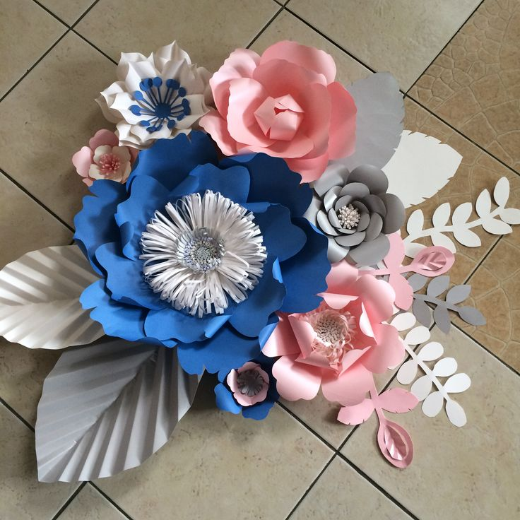 blue, rose quartz, gray and white | for paper flower wall for a wedding