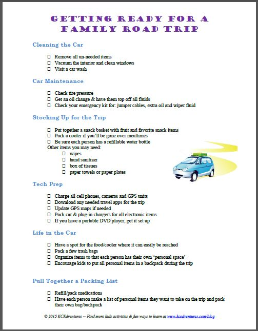 Be sure the car & the family are ready for your next road trip with this free printable checklist and tips on what to do before a long car trip!