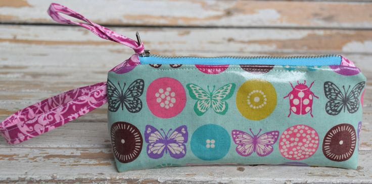 Wristlet-- Aqua Butterfly by NelleBushBags on Etsy