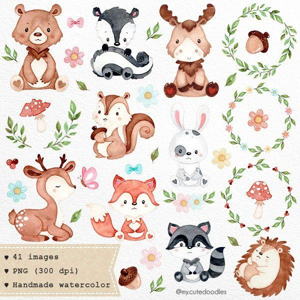 Woodland Animals Clipart Watercolor Animals Clipart Nursery Etsy Cute Doodles Animal Clipart Watercolor Animals