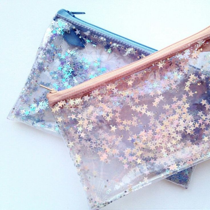 1980s style pencil case, pouch with water, glitter, sequins