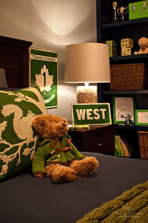 Corea Sotropa Interior Design: Blue and green boy's bedroom with navy blue bookcase filled with books and wicker ...