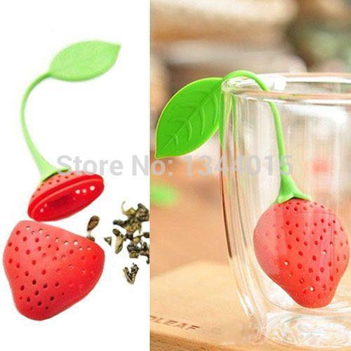 10 шт./лот силиконовые клубника полые формы листовой чай фильтр творческий конфеты листовой чай фильтр / M1285