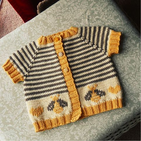 Sweet Baby Bee Sweater;  knits quickly in worsted weight yarn.  Shown: Size 6 months, knitted with Lion Brand Wool-Ease in natural heather...