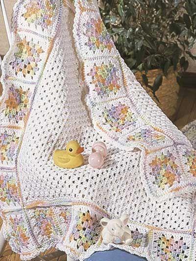 Manta infantil de crochet colorida