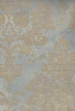 Satin Blue and Gold Damask Wallpaper