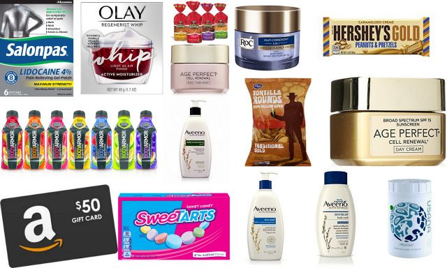 4wks: Full size: 2-$50 Amazon gift cards, 2-Hershey Gold candy bars, Any Kroger tortilla chips, Any Canyon Bakehouse Bread, Any Body Armor SuperDrink, Procosa Supplement, a box of Sweetarts & Salonpas with Lidocaine. Trial sizes: Olay Regenerist Whip Moisturizer, Aveeno Daily Moisturizing Lotion, Aveeno Skin Relief Lotion, Aveeno Skin Relief Body Wash, Roc Chest/Face/Neck Cream, Age Perfect Cell Renewal Cream & Age Perfect Cell Renewal Mask.