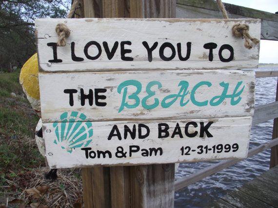 Beach Wedding sign Wedding Beach sign by DoolittleWoodArt