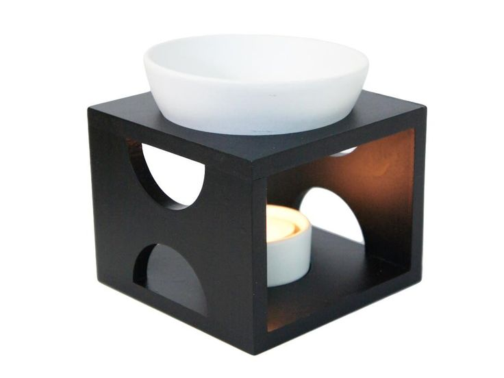 Black Oil Burner Set ,White Bowl & T-Lite Holder