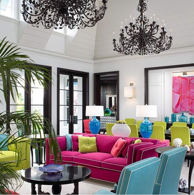 Black And White Room With Colorful Furniture   Pink, Teal, Green And Yellow  Accents. Fun Color Scheme I LOVE Colorful Furniture!