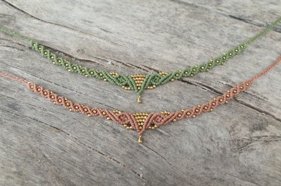 Macrame Necklace / Choker with Brass Beads by CTheSoulOfMoon Not a fan of chokers, possible to modify the drop for a pendant style(?)
