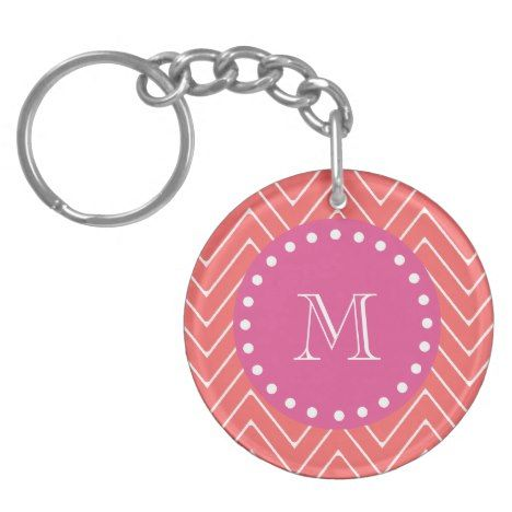 Hot Pink Coral Chevron | Your Monogram Keychain #chevron #pattern #accessories